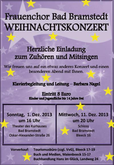 Weihnachtskonzert, Frauenchor Bad Bramstedt, Plakat 2013